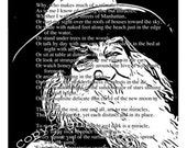 WALT WHITMAN Literary Art Print with Poem MIRACLES Text