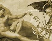 H.P. Lovecraft CTHULHU Print Michelangelo Creation of Adam Sistine Chapel