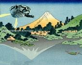 GAMERA Godzilla POSTER Hokusai Mt. Fuji Lake Kawaguchi Parody MST3K