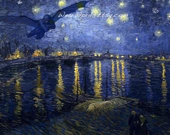 Demon above Van Gogh Starry Night over the Rhone Devil Vampire Dementor Harry Potter Bouguereau
