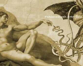 H.P. Lovecraft CTHULHU Print Michelangelo Creation of Adam Sistine Chapel Mature