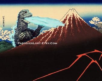 GODZILLA Print Hokusai Mt. Fuji Rainstorm Lightning Parody MST3K