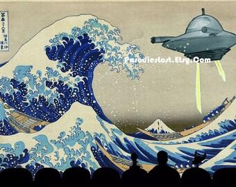 MST3K Print HOKUSAI Great Wave Off Kanagawa Mystery Science Theater 3000 Ukiyo-e UFO Parody