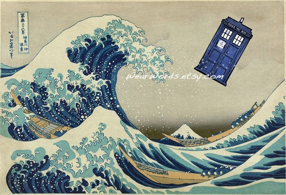 Doctor Who TARDIS Print Hokusai Great Wave off Kanagawa Parody