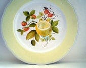 vintage dish with lemon and strawberries hand painted