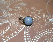 Beautiful Angelite Wire Wrapped Ring