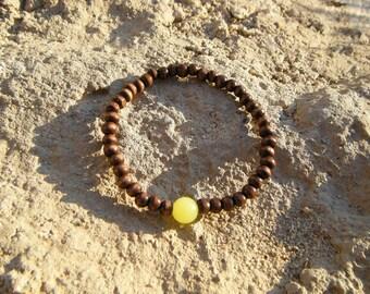 Yellow Jade Wood Mala Bracelet