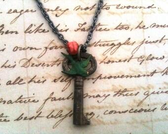 Charming Antique Key, Verdigris Patina Sparrow Necklace