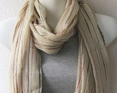 Fringe Cotton Scarf in Pastel Vanilla..Stripes Scarf..Rustic Necklace Scarf..Beige Scarf