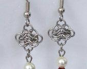 Rosette Earrings w/ Red Crystal