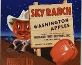 1950s Apple Head Cowboy Sky Ranch Vintage Yakima WA Label