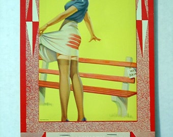 1964 Frahm Pinup Calendar 40s Girlie Thigh High Nylons Gams