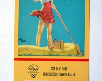 1954 delMasters 40s Girlie  Pinup Calendar Legs Baby Boomer Gift