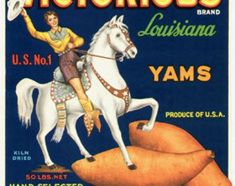1950s Cowgirl on Prancing Horse Western Vintage Yam Label