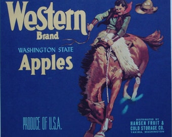 1930s Cowboy Riding Bucking Horse Western Bronc Vintage Apple Label