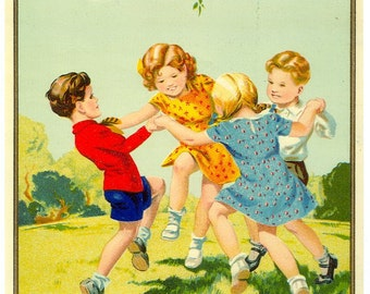 1920s Ring Around the Rosie O Roses Textile Fabric Label Children Playing