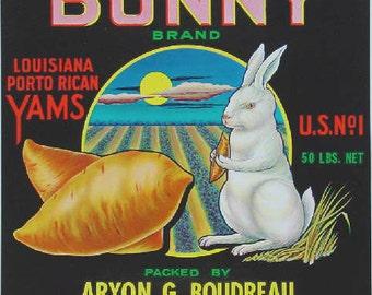 1930 Bunny White Rabbit Sunset Louisiana Yams Crate Label Original