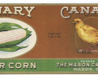 1920s Scarce Canary Yellow Bird Antique Mason Ohio Corn Can Label