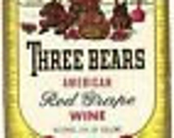 1950s Three 3 Bears Vintage Petersburg VA Old Wine Bottle Label