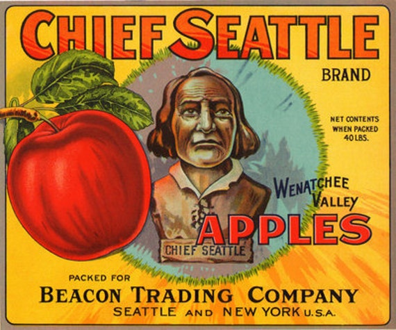 1930s Chief Seattle Indian Native American Early Red Apple Ad Art