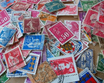 10 PARIS stamps collection. Cute vintage assorted.