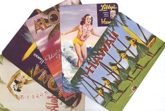 2 ALOHA Postcards. Let's go to Hawaii.