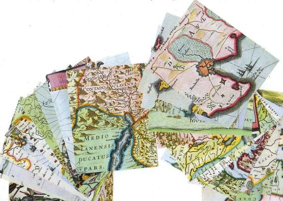 SALE 10 VINTAGE MAPS Sheets for collage or frame