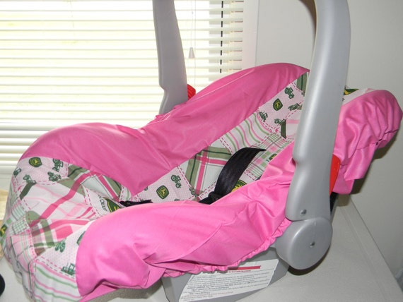 John Deere Car Seat Covers : Infant car seat cover girl john deere by lizsstitchesdotcom