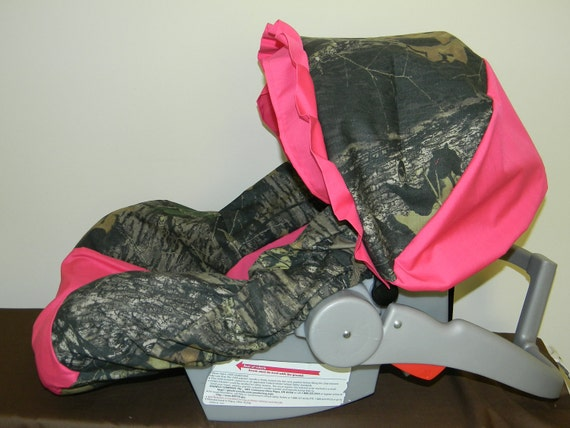 Mossy Oak Camo With Hot Pink Infant Car Seat Cover And Canopy