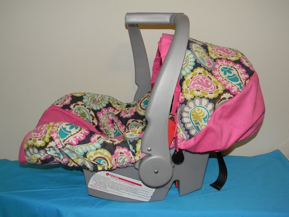 paisley with hot pink infant car seat cover by lizsstitchesdotcom. Black Bedroom Furniture Sets. Home Design Ideas