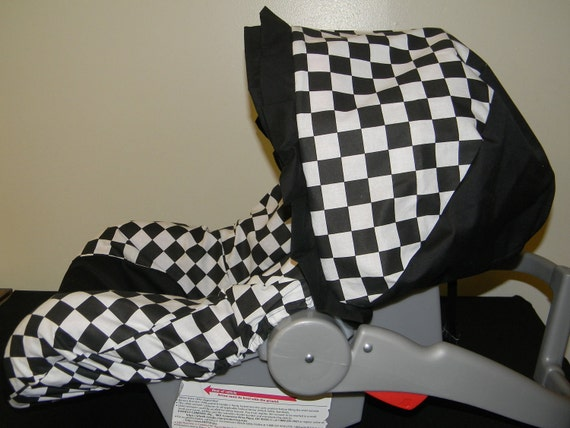 CHECKERED FLAG black and white Squares Infant Car Seat Cover & Canopy/visor with Free Monogram