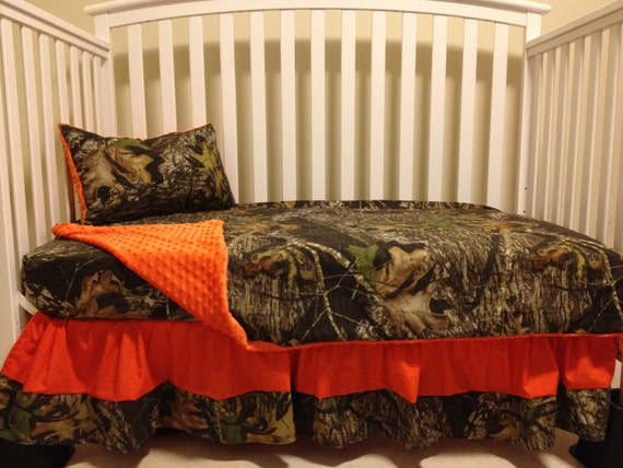 KNOX BENTLEY's Camo 5 piece set made with Mossy Oak fabric and Orange minky dot baby Crib or TODDLER Bedding Set with and Monograms