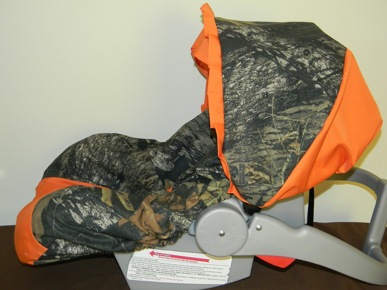 Mossy Oak Camo With Orange Infant Car Seat Cover And Canopy