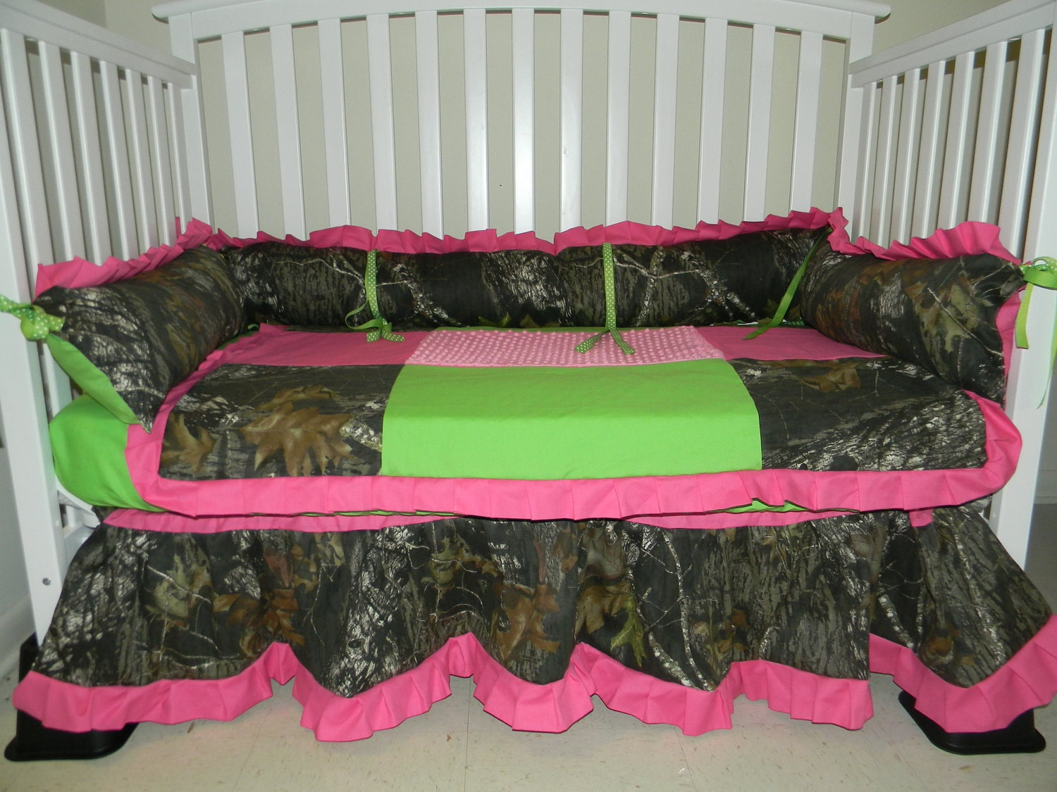 Camo Mossy Oak And Lime Green Minky Dot With Hot Pink Baby
