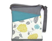 Floral crossbody bag handbag ipad, blue, gray fabric, long strap lined handbag zip fastening