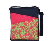 SALE Crossbody bag, pink crossbody bag, ipad case, long strap bag,floral bag, zip fastening