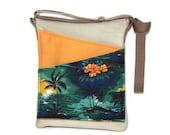 Palms cross body bag beach iPad travel shoulder purse, green fabric