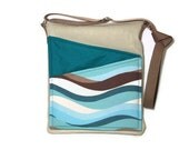 Shoulder Purse cross body bag, iPad , travel, women blue fabric,long strap lined handbag zip fastening
