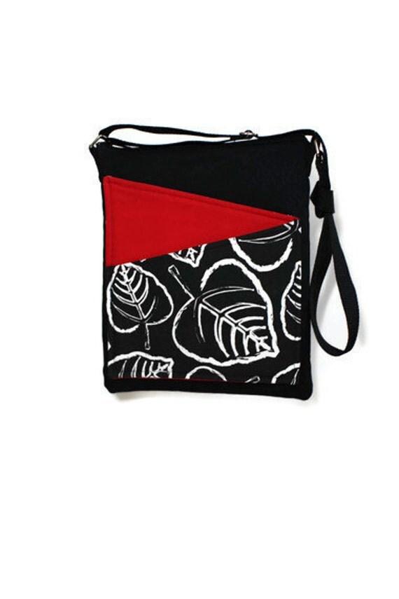 Black crossbody bag handbag travel floral print, redcolor, black fabric
