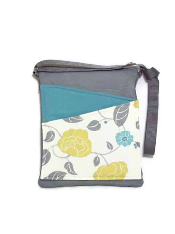 Floral crossbody bag handbag ipad, blue, gray fabric, long strap lined handbag zip fastening