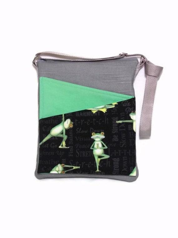 Frog cross body bag Ipad  frog yoga handbag, courier, green fabric
