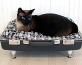 RESERVED SnuggyLuggage Suitcase Pet Bed Vintage Upcycled Cat Dog Navy White Checkered Mid Century Mad Men