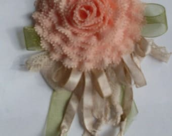 Peach Lace Flower Pin