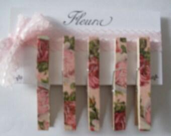 Shabby Chic Roses Clothespins-TREASURY ITEM