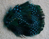 Black and Turquoise Sparkling Feather  Fascinator