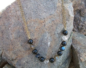 Helix Crystal and Black Glass Necklace