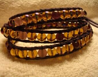 Golden Lavender Wrap Bracelet