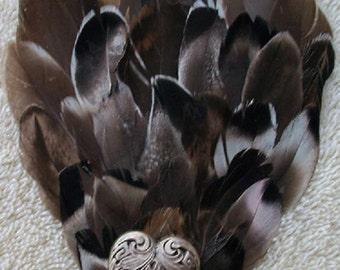 Mallard Duck Feather and Silver Heart Fascinator - Choose headband, barrette, comb or clip
