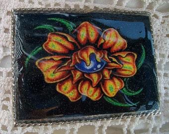 Old School Tattoo Flower Belt Buckle