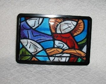 Stained Glass Design Belt Buckle